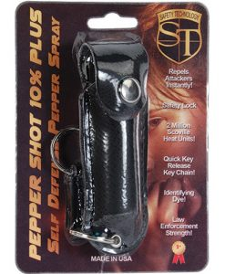 Pepper Shot 1/2 oz w/Black Leatherette Holster & Quick Key Release Key Chain